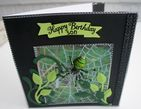 HANDMADE PERSONALISED  SPIDER BIRTHDAY CARD BOXED WITH 3D MAGNETIC SPIDER